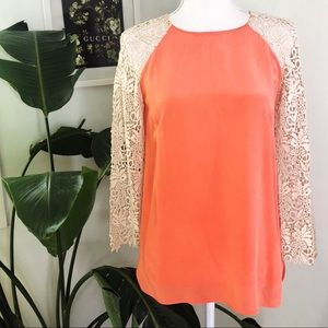 Club Monaco Silk Blouse with Lace Sleeves